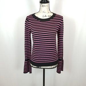 ASOS Women's Pink & Black Striped Bell Sleeve Top
